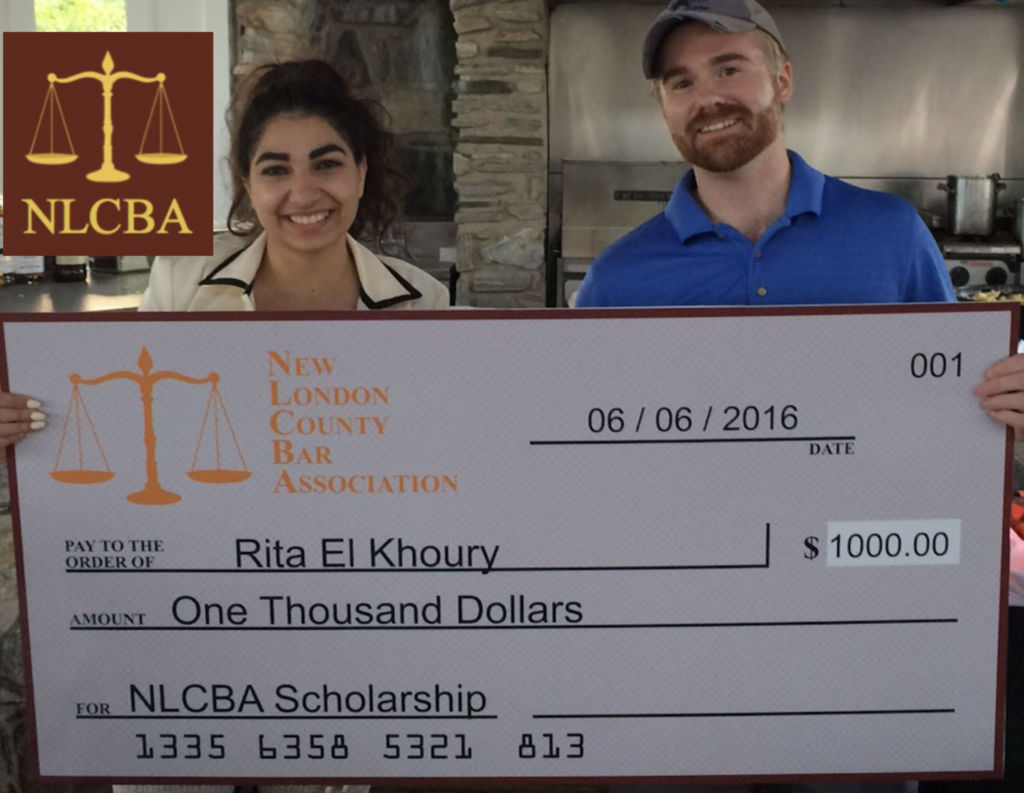 We are proud to announce Rita El Khoury, a senior at East Lyme High School, as the winner of the 2015/2016 NLCBA $1,000 Scholarship! Ms. El Khoury's hard work and dedication to education led to acceptance at four top Connecticut Universities. We wish her the best in her pursuit of a career in law and we look forward to searching for next year's winner.